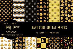 Fast food Digital Paper Pack