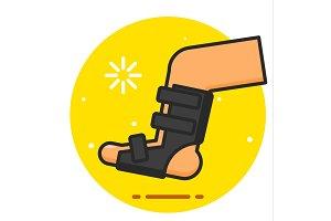 Broken leg bandage vector