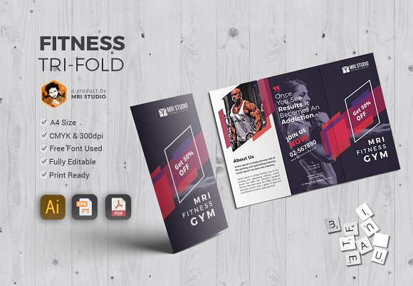 GYM TriFold Brochure Brochure Templates Creative Market - 5 fold brochure template