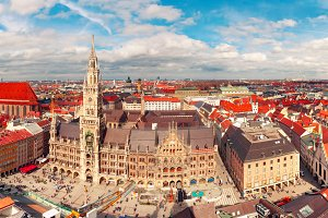 Aerial panoramic view of Old Town, Munich, Germany