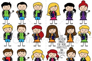 Stick Figure Students Clipart