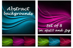 Abstract aurora backgrounds set