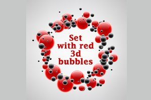 Set of cards with red 3d bubbles