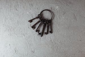 Vintage keys on ring
