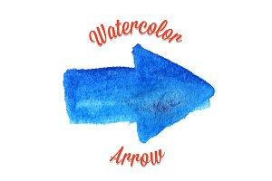 Blue vector watercolor arrow