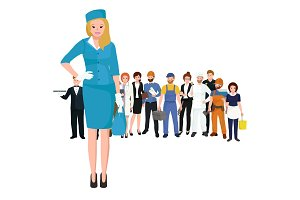 Vector blonde woman stewardess in blue uniform, Famale worker