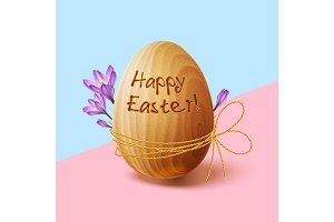 Easter poster with gold ribbon and crocus flowers