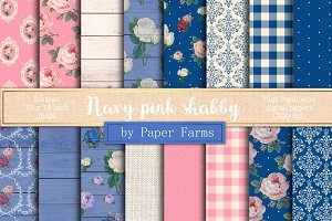 Navy pink shabby digital paper