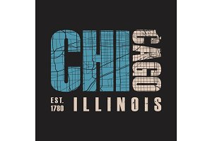 Chicago Illinois t shirt print. Vector illustration.