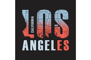 Los Angeles California tee print. Vector illustration.