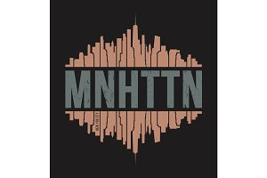 Manhattan New York tee print. Vector illustration.
