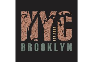 New York Brooklyn tee print.Vector illustration.