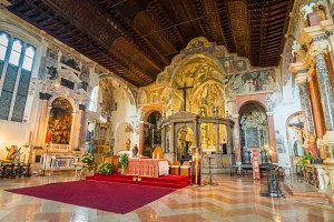 Interior of the upper church of the San Fermo Maggiore, Verona.