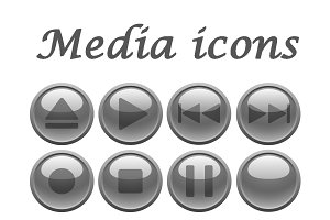 Gray media icons set