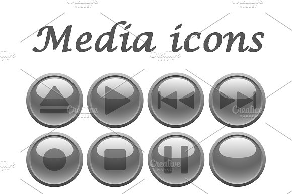 Gray media icons set