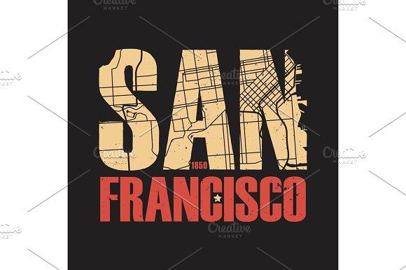San Francisco California tee print. Vector illustration.