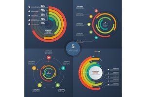 Set of vector presentation circle infographic charts 5 options