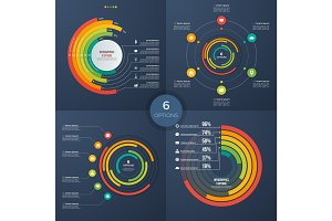 Set of vector presentation circle infographic charts 6 options