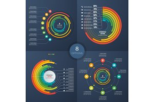 Set of vector presentation circle infographic charts 8 options
