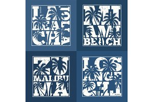 Set of US resorts t-shirt designs. Vector illustration.