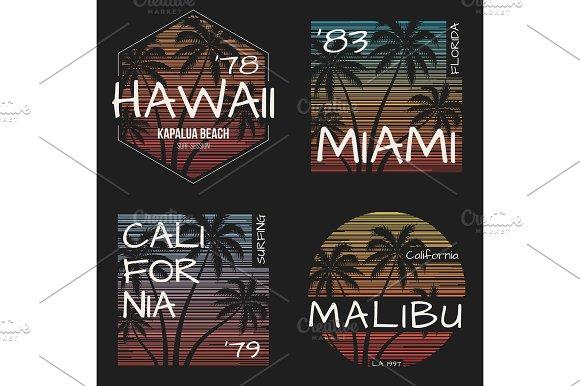 Set of US resorts t-shirt designs. Vector illustration.