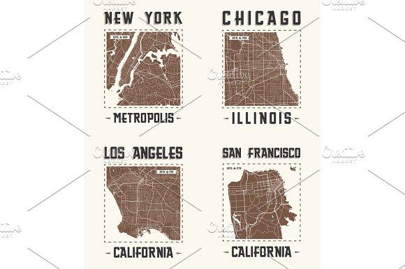 Set of US cities vintage t-shirt designs.Vector illustration.
