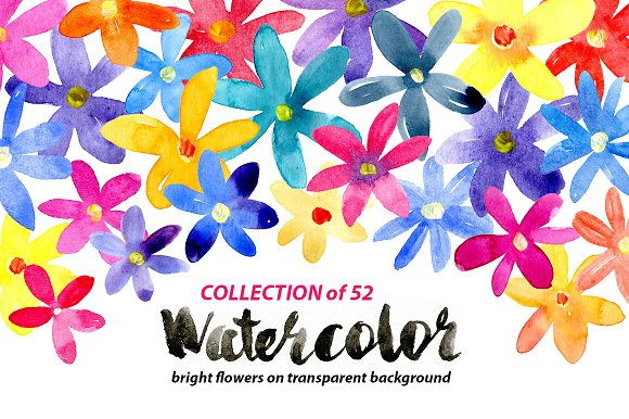 Bright watercolor flowers set in Graphics