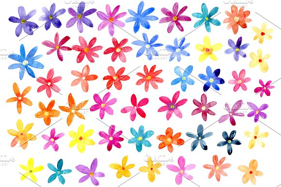 Bright watercolor flowers set in Graphics - product preview 1
