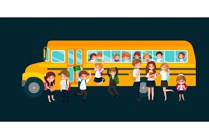 Back to School summer sale background. Boy and girl with the school bus, education concept banner vector illustration