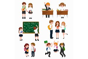 vector illustration of happy children doing different fun activities at school like painting,studying,learning and jumping