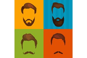 Men cartoon hairstyles with beards and mustache background. Vector illustration  isolated hipsters  icons .