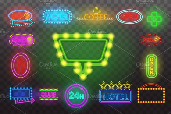 Set Of Neon Sign Light At Night Transparent Background Vector Illustration Isolated Bright Glowing Electric Advertise Illuminated Banner For Graphic Design Or Icons
