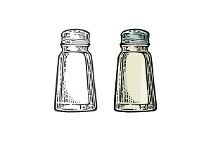 Salt shaker. Vintage black and color vector engraving illustration