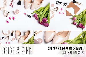 Styled stock photo set. Beige & pink