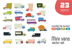Mini vans vector set.