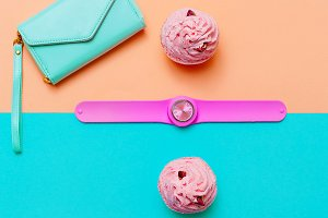 accessory Watch and purse. Minimal