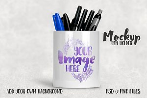 Ceramic pencil holder mockup