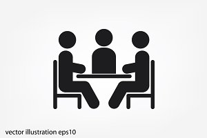 people around the table icon