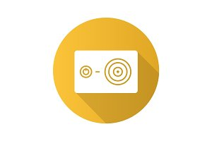 Action camera flat design long shadow icon