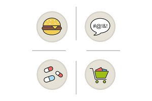 Addictions color icons set