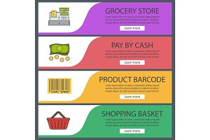 Supermarket banner templates set