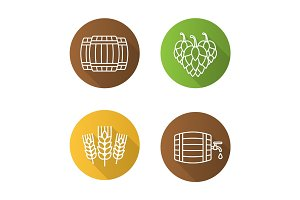 Beer flat linear long shadow icons set
