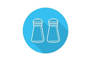 Salt and pepper shakers. Flat linear long shadow icon