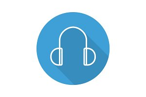 Headphones flat linear long shadow icon