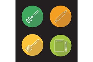 Kitchen tools flat linear long shadow icons set