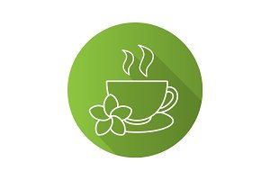 Herbal teacup flat linear long shadow icon