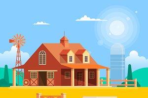 Farm house with windmill