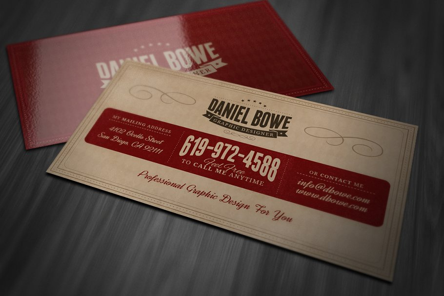 Vintage or retro business card business card templates creative previous cheaphphosting Choice Image