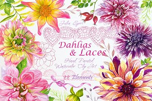 Watercolor Clip Art Dahlias & Laces