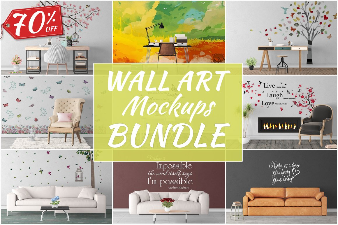 Wall Art Mockups BUNDLE V36 ~ Product Mockups ~ Creative Market